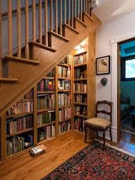 stair bookcase stair bookcase the stairs in this loft are sandwiched between a