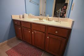 Repaint Bathroom Vanity by How To Refinish A Bathroom Vanity Bower Power