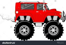 bigfoot monster truck cartoon illustration big wheels red monstertruck cartoon stock vector