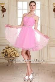 light pink dama dresses rose pink halter top neck mini length beading dama dress for
