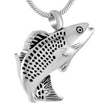 jewelry that holds ashes cremation pendant that holds ashes necklace fish trout bass