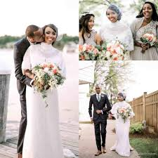 2017 chic romantic dot tulle wedding dresses high neck long sleeve
