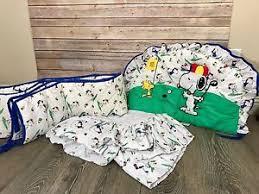 Snoopy Crib Bedding Vintage Snoopy Peanuts Golf Baby Crib Nursery Bedding Set Skirt