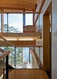 wooden interiors of cozy house with beautiful views in cliff side