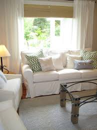 pottery barn livingroom pottery barn living room with white sofa and white curtain pottery