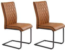 chaises s jour lot de 2 chaises de séjour pablo en éco cuir cognac belfurn