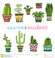 cute pots for plants cactuse and succulent hand drawn set doodle florals in pots vector
