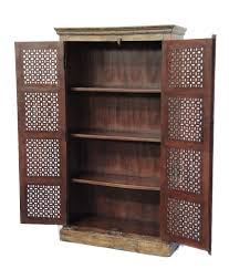 Tall Storage Cabinet With Doors And Shelves by Tall Storage Cabinet With Antique Indian Doors Custom Furniture