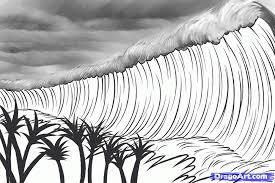 how to draw a tsunami tsunami tsunamis step by step