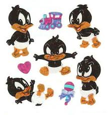 sandylion vintage looney tunes baby daffy duck stickers 3 squares