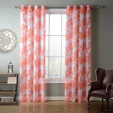 Patterned Window Curtains Sunnyrain 1 Piece Orange Coconut Palm Sheer Curtain For Living