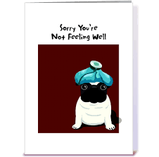 pug get well greeting card by gravelly card gnome