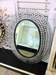 modern home ideas with crystal stones oval sunburst wall mirror