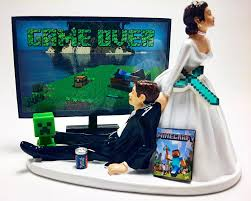 gamer cake topper wedding cake topper and groom sword