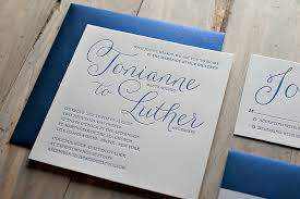 wedding invitations blue real wedding tonianne and luther navy blue wedding invitations