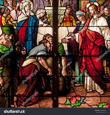 stained glass window depicting bible story stock photo 154303691