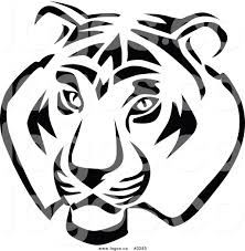 royalty free vector of a black and white tiger logo by vector