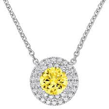 yellow jewelry necklace images 1 07 tcwt queen anne canary yellow halo pendant with 18 quot chain jpg
