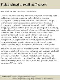 Retail Job Objective For Resume by Top 8 Retail Staff Resume Samples