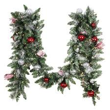 Decorated Christmas Wreaths Artificial by Christmas Garland Christmas Wreaths U0026 Garland The Home Depot