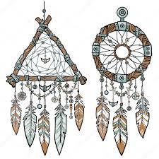 round and triangular dreamcatcher native american indian talisman