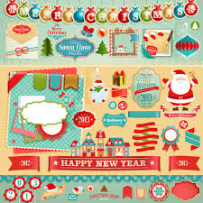 vintage christmas labels and elements vector set 05 vector