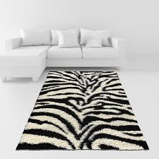 White Soft Rug Amazon Com Soft Shag Area Rug 7x10 Zebra Black White Shaggy Rug