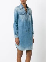 roberto cavalli lace up denim shirt dress 04564 women clothing day