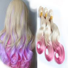 pink hair extensions girl s ombre color hair weft wave 100 remy european human