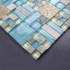 glass tiles for kitchen backsplash tiles kitchen blue glass blend mosaic marble