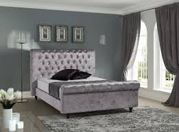 stella modern pewter velvet fabric bed frame 4ft6 double home
