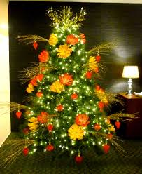 oriental inspired christmas tree with red and gold handmade paper