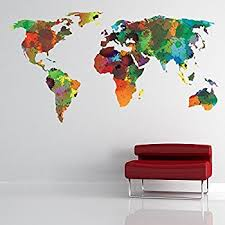 world map with country names contemporary wall decal sticker educational labelled countries of the world map wall sticker
