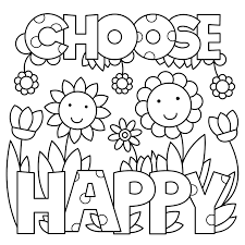 Choose Happy Quote Free Coloring Page General Quotes Coloring Pages Happy Coloring Pages
