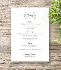 Wedding Menu Template Rustic Printable Wedding Table Menu Template Connie U0026 Joan