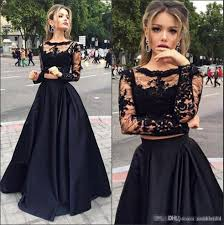 sale black cheap two pieces formal prom dresses 2017 sheer