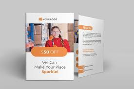 cleaning services bi fold brochure brochure templates creative