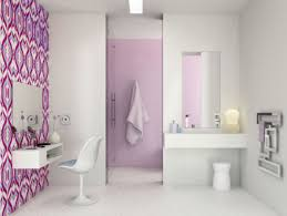 Wallpaper Bathroom Ideas Cute Colorful Bathroom Ideas For Children With Wall Mount Toilet