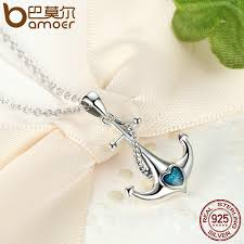 sted necklaces bamoer classic 925 sterling silver blue heart anchor