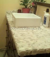 Bathroom Countertop Tile Ideas Sliced Java And White Pebble Tile White Pebbles Pebble