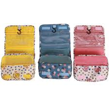 Massachusetts Travel Pouch images Portable hanging cosmetic organizer case flower printed makeup jpg
