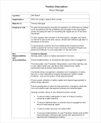 Manager Job Description Resume by Store Manager Job Description Assistant Manager Job Description