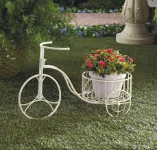 Buy Planters Wholesale White Wrought Iron Tricycle Planter Stylized Antique