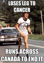 Terry Meme - loses leg to cancer runs across canada to end it terry fox