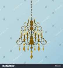 gold chandelier gold crystals hanging stock vector 61309003