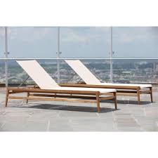 Canvas Outdoor Chairs Coast Teak Sling Canvas Outdoor Chaise Lounge Kathy Kuo Home