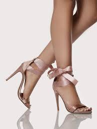 ribbon heels ribbon tie up heels mauve shein sheinside