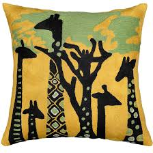 contemporary pillows for sofa abstract giraffe throw pillow cover hand embroidered 18 x 18