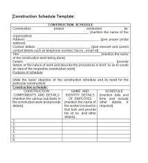 construction work schedule templates free hitecauto us