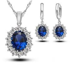 zircon blue necklace images Bridal wedding women crystal 925 sterling silver blue cubic zircon jpg